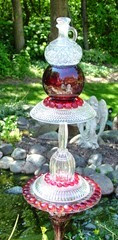 glass garden art red clear