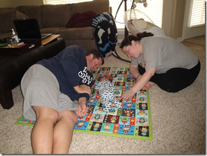3.  Tummy time with Aunt Lyndsie and Logan