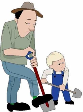 Pai e filho enxada