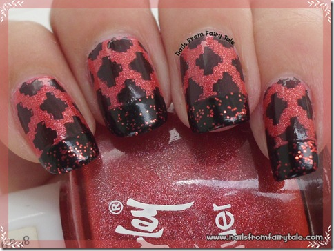 black and red french manicure with stamping