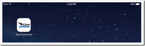 A shortcut icon for a mobile app created with Code On Time on iPad Air home screen.