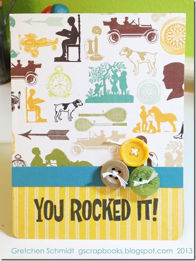 You Rocked It! card with Congrats Pop `n Cuts by @gscrapbooks