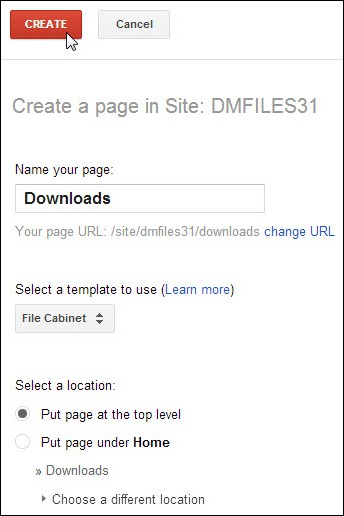 Settingan halaman baru di Google Sites