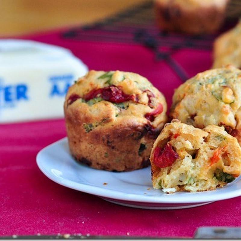 Basil, Feta & Roasted Pepper Muffins