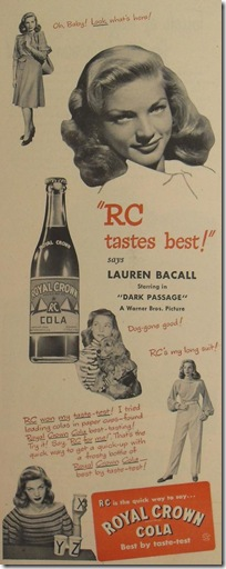 Royal Crown Cola  Lauren Bacall