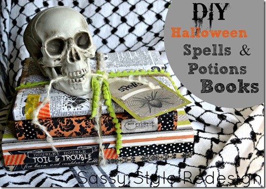 DIY Halloween Spells & Potion Books! How fun are these? All you need are old books, spooky paper, & embellishments!