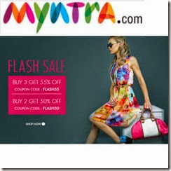 MYNTRA: Clothing, Footwear & Accessories Buy 1 get 50% off,Buy 2 at 50% off, Buy 3 at 55% off