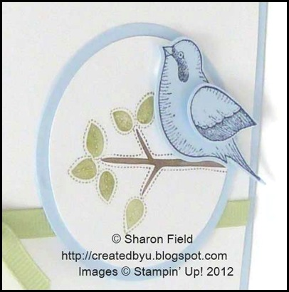 view of popped up stamped bird on bashful blue cs