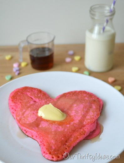 Our Thrifty Ideas | Heart Shaped Pancakes for Valentine's Day breakfast | #Valentines #Breakfast