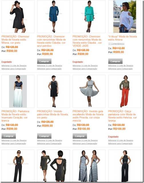 promoções na loja virtual moda de novela