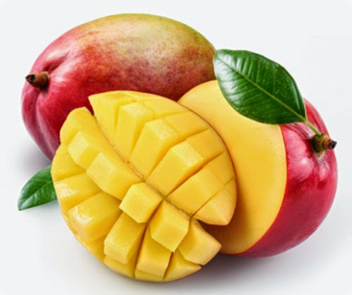 Mango with section on a white background