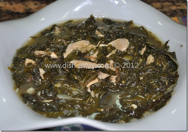 Molokhia (Jews Mallow) with Chicken Recipe Molokhia (Jews Mallow) with Chicken Recipe by www.dish-away.com
