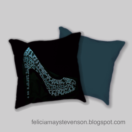 Shoe design cushion, blue green cushion, teal and black pillow