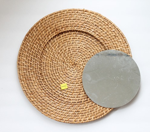 rattan plate charger mirror