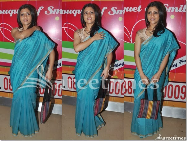 Konkana_Sen_Blue_Plain_Saree