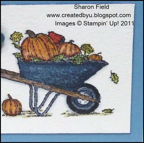 3.pumpkins in wheelbarrow, watercoloring by Sharon Field