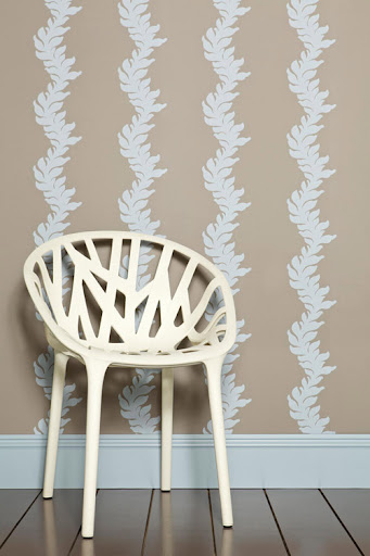 Farrow & Ball's Acanthus wallpaper features a detailed fluid stripe with a soft and curved leaf design which playfully weaves the length of the wallpaper. (us.farrow-ball.com)