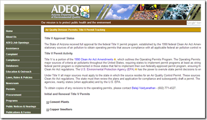 Arizona Department of Environmental Quality - ADEQ - Air Permits Title V