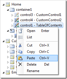 Paste context menu option on control1.