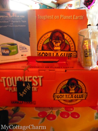Gorilla Glue Goodies, Deco art, Krylon paint and Edge lock painters tape (blue)