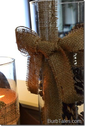 "Burlap ""wrapped"" glass with bow"