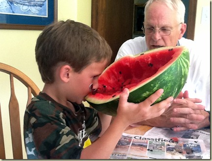 Tripp and watermelon
