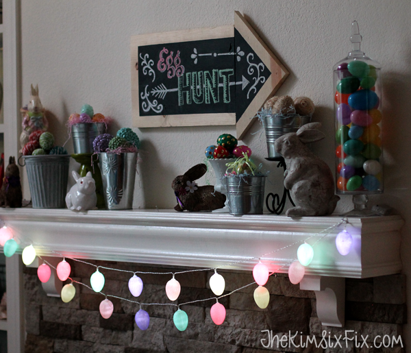 Glowing easter egg mantel