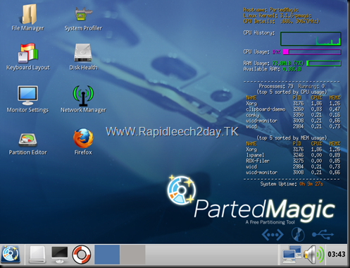 Download Parted Magic V11.12.30 with Programs 2012 – The Linux Live CD/USB Partitioning Free Tool  - no install required