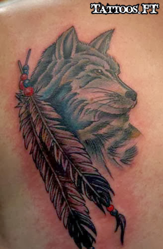 Wolf tattoos meanings and pictures tattoos ideas for Wolf tattoo with feathers