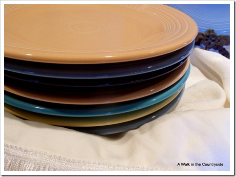 a walk in the countryside: fiesta ware dinner plates