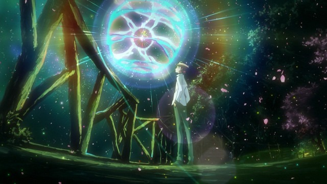 Ryouichi stands casually outside at night looking up at a spectacular glowing energy ball in front of him