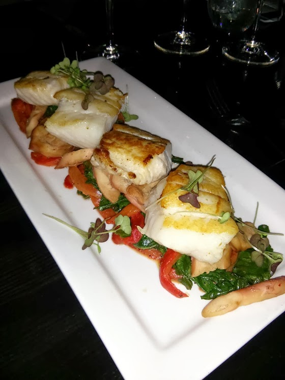 Local Lounge: Roasted Ling Cod with Sauteed Kale, Honey-Glazed Charred Octopus, and Fester's Red Pepper Bisque
