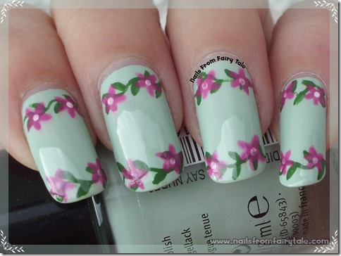 pastel green with flowers