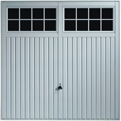 Salisbury garage door in white with black windows