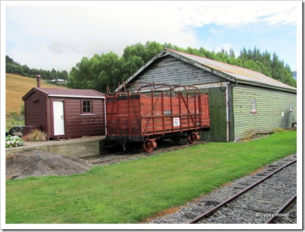 Gangers hut, cattle wagon and goods shed at Little River.