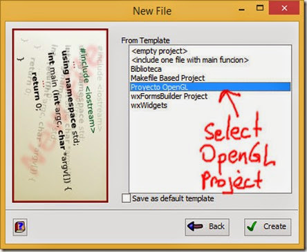 Use OpenGL project template