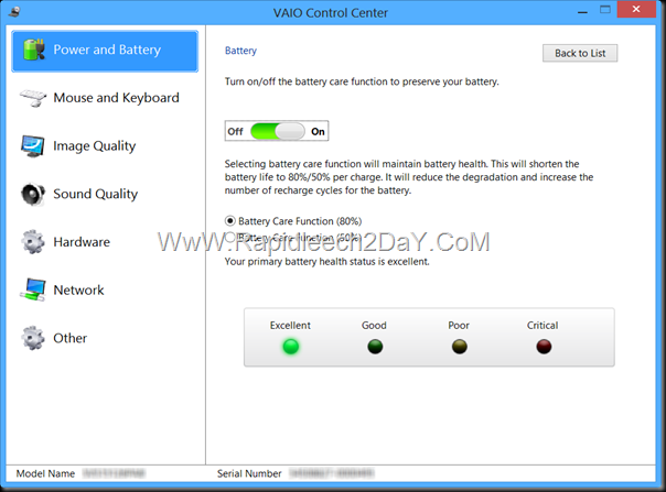 Vaio control center - battery care function