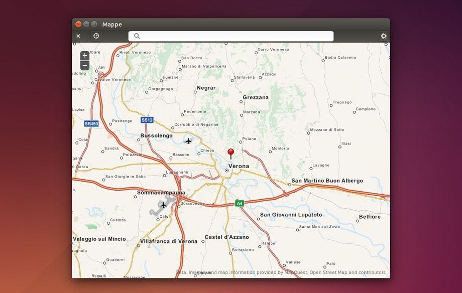 Gnome Maps con barra del titolo in Ubuntu
