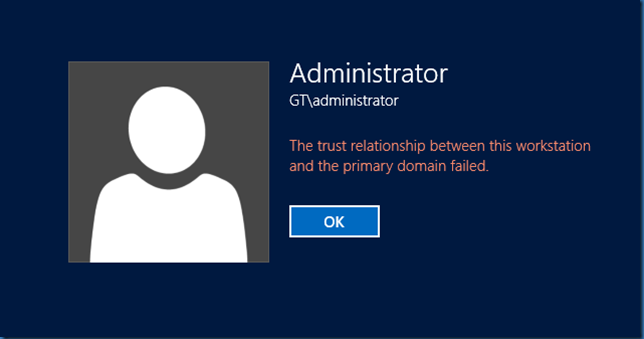 error login the trust relationship between this workstation and primary