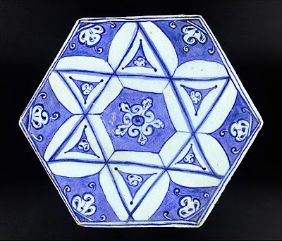 Tile | Origin: Turkey, Iznik | Period:  circa 1520 | Collection: The Madina Collection of Islamic Art, gift of Camilla Chandler Frost (M.2002.1.137) | Type: Ceramic; Architectural element, Fritware, underglaze-painted, Height: 6 7/8 in. (17.46 cm)