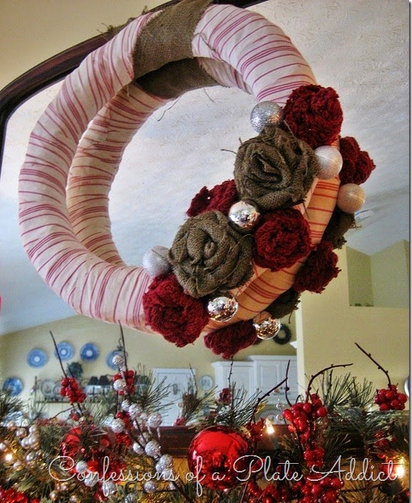 CONFESSIONS OF A PLATE ADDICT French Ticking and Burlap Wreath