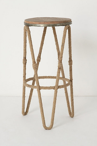 A rope accented bar stool. (anthropologie.com)