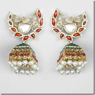 temple shaped jhumki earrings