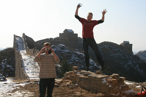 Eddie and Trevor obviously rather excited about being on The Great Wall!