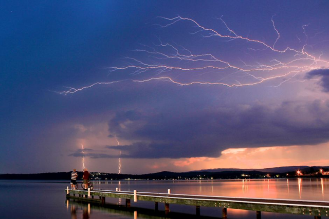 Lightning over Lake Macquarie, New South Wales, Australia. Peter Kennelly / ABC