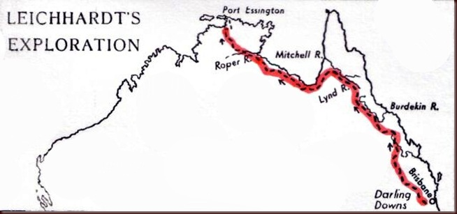 Ludwig_Leichhardt-Map of the explorer's route in Australia