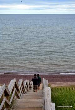 Walking down tot he beach