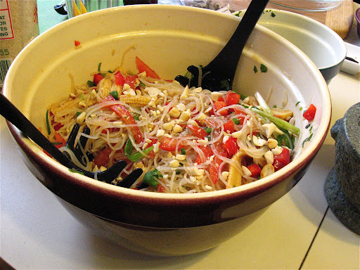 The hot and sour salad included thin rice noodles that we boiled and canned baby corn, tomatoes, red bell pepper, and toasted peanuts. It had a simple dressing of lime, soy sauce, and sugar.