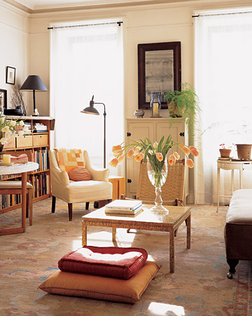 This sun-dappled room is what made the apartment's owner first fall in love with the space.
