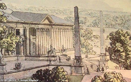 Del av Desprez skiss över Haga Slott, 1790-talet